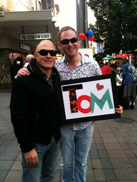 Simon and Tom with the sign we made